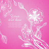 Vector card with graphic stylized cherry blossom. Royalty Free Stock Photos