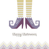 Vector card for Halloween. Boots sorceress. Royalty Free Stock Photo