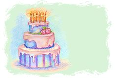 Vector card with hand drawn birthday cake Royalty Free Stock Image