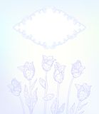 Vector card with hand drawn tulips on light blue stock illustration