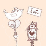 Vector card with handdrawn romantic elements Royalty Free Stock Photo