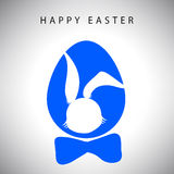 Vector card of Hanging easter blue egg with bow and silhouette of rabbit gentleman Royalty Free Stock Photo