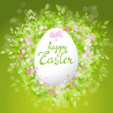 Vector card Happy Easter. Floral frame with leaves Stock Photos