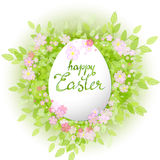 Vector card Happy Easter. Floral frame with leaves Stock Image