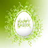 Vector card Happy Easter. Floral frame with leaves Royalty Free Stock Photos