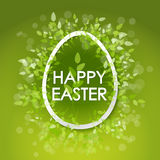 Vector card Happy Easter. Floral frame with leaves Royalty Free Stock Photography