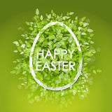 Vector card Happy Easter. Floral frame with leaves Royalty Free Stock Images