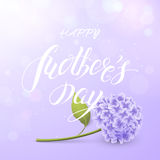 Vector card of `Happy Mother`s day` with hydrangea and text on the purple background. Card of `Happy Mother`s day` with hydrangea and text on the purple Royalty Free Stock Photo