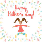 Vector card Happy Mothers Day with cute jumping girl and letters. Stock Images