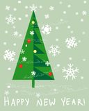 Vector Card Happy New Year. Card with  Christmas tree decorated balls Royalty Free Stock Photos