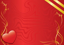 Vector card with heart and ribbons. Red card with heart and golden ribbons Royalty Free Stock Image
