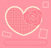 Vector card with heart, rose and three postage sta Stock Photo