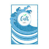 Vector card holiday template with hand drawn words earth day in a square frame with blue waves around Royalty Free Stock Photo
