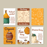 Vector card with honey elements. Template for menu, poster, card. Background with helthy food production Royalty Free Stock Images