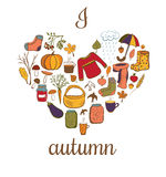 Vector card I love autumn. Stock Photo