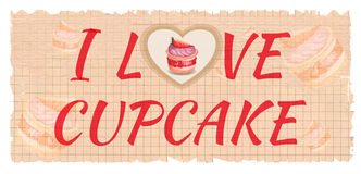 Vector card. Illustration of  watercolor cupcake Royalty Free Stock Photography