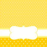 Vector card or invitation with yellow background, white polka dots Royalty Free Stock Photos