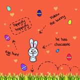 Vector card with jumping gray comic rabbit and scattered paint eggs. Egg hunt. The bunny has chocolate. Illustration with a thick royalty free illustration