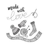 Vector card knitting theme with lettering and knitted clothes Stock Illustration