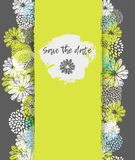 Vector card with lemon, white, blue stylized doodle flowers and place for your text. Stock Photography