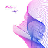 Vector card. Linear silhouette of a mother and her child. Inscription: Mothers Day. Stock Images