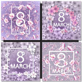 Vector card for 8 march. International Women Day. Set of Vector card for 8 march. International Women Day. Floral frame with crocuses and  snowdrops. Purple Royalty Free Stock Photos