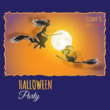 Vector card with Moon, witch, cat and words Halloween Party. Royalty Free Stock Photography