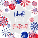 Vector card with motto of France in french meanening Liberty, Equality, Fraternity. On map decorated with abstarct three colored fireworks stock illustration