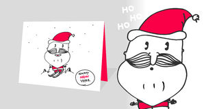 Vector card for the new year, santa claus, happy year, print, animation, funny, hand sketch, original. Vector card for the new year, santa claus, happy year Stock Photo