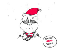 Vector card for the new year, santa claus, happy year, print, animation, funny, hand sketch, original. Vector card for the new year, santa claus, happy year Stock Photography