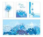Vector card with outline Forget me not or Myosotis bunch in pastel blue. Floral templates in blue with contour Forget-me-not. Royalty Free Stock Photography