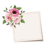 Vector card with pink flowers. Eps-10. Stock Images