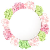 Vector card with pink and green hydrangea flowers. Eps-10. Vector circle card with pink and green hydrangea flowers Stock Photo