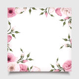 Vector card with pink lisianthus flowers. Eps-10. Royalty Free Stock Images