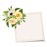 Vector card with pink, orange and yellow flowers. Eps-10. Stock Image