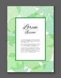 Vector card with place for your text. The letter of thanks. Invitation. With green leaves Royalty Free Stock Images