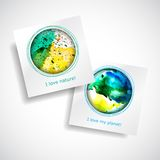 Vector Card Planet. Set colorful natural card. Vector design green and blue card. Art advertising template. Trendy holiday card Stock Illustration