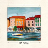 Vector card. Postcard with a seaside town, boat and sea. Boat on the waves on the background of the southern city. Embankment, sea, boat, houses. Croatia Royalty Free Stock Image