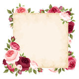 Vector card with red and pink roses. Royalty Free Stock Image