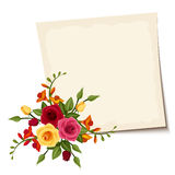 Vector card with red and yellow roses. Royalty Free Stock Photography