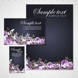 Vector card with roses on a black background Royalty Free Stock Photography