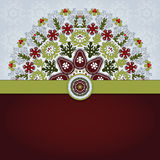 Vector card with round floral pattern and ribbon. Royalty Free Stock Image