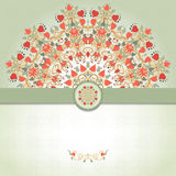 Vector card with round floral pattern and ribbon. Stock Photos