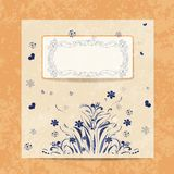 Vector card. Round  oriental pattern on vintage Royalty Free Stock Photos