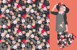 Vector card with seamless floral print with roses and charming dancing frenchwoman. Fashion week royalty free illustration