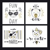 Vector card series with cute fashion cats. Stylish kitten set. T. Rendy illustration in sketch style  t-shirt print, cards, poster. Doodle Kitty. Kids animals Royalty Free Stock Photography