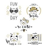 Vector card series with cute fashion cats. Stylish kitten set. T. Rendy illustration in sketch style  t-shirt print, cards, poster. Doodle Kitty. Kids animals Stock Photography