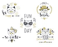 Vector card series with cute fashion cats. Stylish kitten set. Trendy illustration in sketch style t-shirt print, cards, poster. Doodle Kitty. Kids animals royalty free illustration