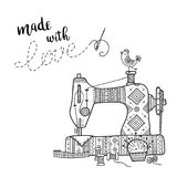 Vector card with sewing machine and lettering. Stock Illustration