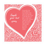 Vector card in shape of heart on a rose background of ornate pattern. Design wedding invitation, greeting Valentine`s Stock Images